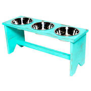 Elevated Dog Bowl Stand - Wooden - 3 Bowls - Same Size Bowls - 300 Mm/12 Tall