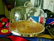 Ultra Rare Vintage Covered Wicker Plate Tray Cake Party Service Barware