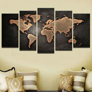 World Map Painting 5 Panel Canvas Print Wall Art Poster Home Decor