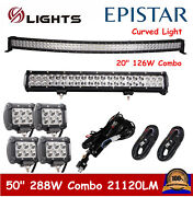 50inch Curved Led Light Bar 20in+4 18w Pods Offroad Suv For Jeep 52 Wiring Kit