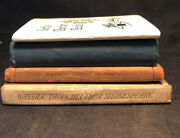 Old Vtg Collectible Lot Of 4 Leather Bound Mini Books Booklets