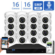 16 Channel 8mp 4k Nvr 16 X 5mp 1920p Poe Microphone Security Camera System 2tb