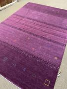 9and039 X 12and039 Stunning Tribal Oriental Rug New Carpet Gabbeh Hand Made Purple Woven