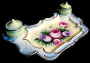 Rare Magnificent Rs Prussia Double Inkwell Desk Set Raised Embossed Wreath Star