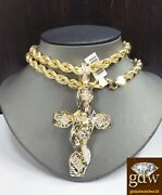 Real 10k Yellow Gold Jesus Cross Charm/pendant And 10k Gold Necklace Chain Mens N