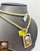 Real 10k Yellow Gold Jesus Head Charm Moon Cut Chain 26 Inches Long 4mm Beads.
