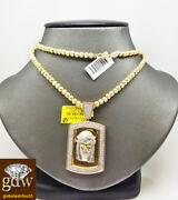 Real 10k Yellow Gold Jesus Head Charm Moon Cut Chain 28 Inches 4mm Beads Rope.