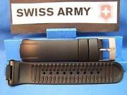 Swiss Army Watch Band St5000 Manand039s Black Resin Strap / Watchband W/pins