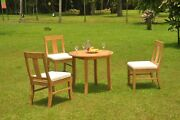 4-piece Outdoor Teak Dining Patio 36 Round Table 3 Armless Chairs Osbo