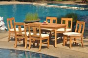 7-piece Outdoor Teak Dining Patio Set 60 Rectangle Table 6 Armless Chairs Osbo