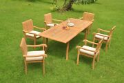7-piece Outdoor Teak Dining Set 94 Rectangle Table 6 Stacking Arm Chairs Napa