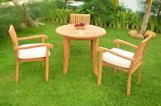4-piece Outdoor Teak Dining Set 36 Round Table, 3 Stacking Arm Chairs Napa