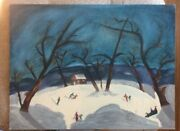 Vtg 1969 Acrylic Painting On Canvas Panel Ice Skaters Primitive Mary Dinatale