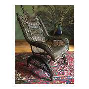 High-back Victorian Wicker Platform Rocking Chair Heywood Wakefield Real Antique