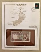 Oman Bank Note 100 Baisa Pick 22 Muscat Stamped Window Envelope With Map And Info