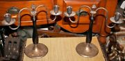 Antique Candlestick Holders Silver Metal And Wood Pair Grape Cluster Top