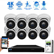 8 Channel Nvr 8 X 4k 8mp Outdoor Indoor Microphone Turret Security Camera System