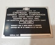 Chevrolet Chevy 3/4 - 2 Ton Truck Id Tag For Left Door Post 1947-52 Non Stamped