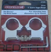 New Redfield 47335 4 Hole Rings 1 Extra High Silver Aluminum Rifle Scope