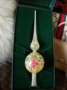 Ultra Rare Vintage Christmas Tree Holiday Hand Painted Topper Ornament Gg