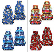 Front Car Seat Covers Hawaii Flower /pam Tree Blue/red/yellow...fits Vw Beetle