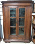 Antique French Walnut Armoire Cabinet Glass Canted 1800and039s Gun Rack Possible