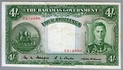 1936 Kgvi The Bahamas Government 4 Shillings Note Very Scarce