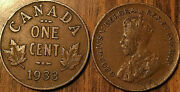 1933 Canada Small 1 Cent Coin Penny Vg-f Buy 1 Or More Its Free Shipping
