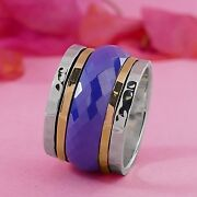Spinner Two Tone Solid 9k Yellow Gold And 925 Sterling Silver Ceramic Ring Size