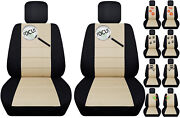 Fits Ford Focus Front Car Seat Cover Black/beige W/frogcatowldragonfly More