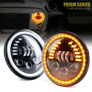Xprite Pair 7 Inch 85w Led Headlights Amber Halo Drl For 07-18 Jeep Wrangler Jk