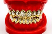 Solid Silver W/ 18k Yellow Gold Two Tone Plated Princess Dust Cut Grill Grillz