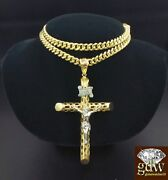 Real 10k Menand039s Gold Miami Cuban Chain With Jesus Cross Charm Pendant Franco.