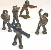 Vintage Lead Toy Soldier Lot Of 5 Soldiers Wwi / Wwii Usa