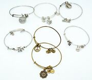 7x Alex And Ani Brand Mixed Lot Adjustable Bracelets W. Cross And Peace Tra