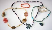 4x Chinese Mixed Bead Necklaces W Jade, Coral, Amethyst By Yasue Yamada Yam11