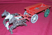 Old Stanley Toys 6 Horses Horse And Wagon Vintage Cast Iron Toy Farmers Western