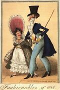 Vintage 19th Century Satire Fashionables Of 1818 Poster A3/a2/a1 Print