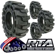 Set Of 4 Solid Skid Steer Tires Fits Cat 8 Lug Flat Proof 10x16.5 Free Shipping