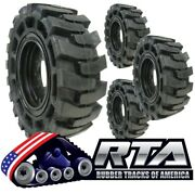 Set Of 4 Solid Skid Steer Tires Fits Jcb 8 Lug Flat Proof 10x16.5 Free Shipping