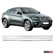 Fits Bmw X6 E71 2008-2014 Chrome Side Body Molding Door Streamer Protector Steel