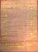 Tibetan Hand-knotted Wool And Silk Tibet Rug 8and039 X 10and039