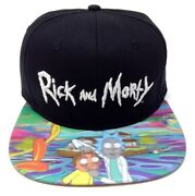 Rick And Morty Logo Holographic Sublimated Flat Bill Adjustable Snapback Hat Cap