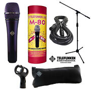 Telefunken M80 Dynamic Microphone Purple + 20ft Xlr Cable And A Mic Stand