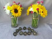 Beautiful Set Of 10 Vintage Drawer Pulls Knobs Gold And Black Lucite W/ Brass