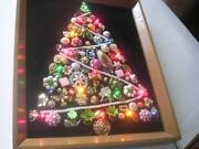 Very Neat 13 X 15 1/2 Framed Folk Art Christmas Tree Made From Earrings And Pins
