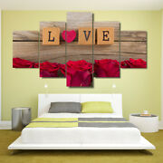 Love Wooden Scrabble Tiles Game Roses 5 Panel Canvas Print Wall Art Home Decor
