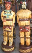 Cigar Store Indian Brave 6and039 Hand Carved 6 Ft Wooden Sculpture By Frank Gallagher
