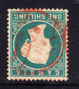 Gambia Qv 1880 Sg19bw 1/- Green - Wmk Cc Inverted Very Fine Used. Cat Andpound700