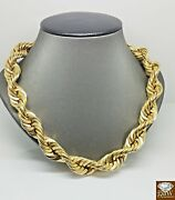 10k Real Gold Rope Chain Necklace 20 Inch15mm Men Thick Brand New